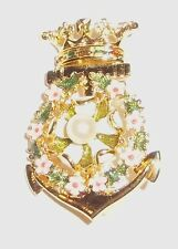 Joan Rivers Rare Crown and Anchor Flowered Pin Brooch Retired