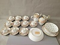 Antique 1775 Paris Porcelain French Empire rue Thiroux Tea Set & 3 Bowls