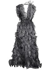 Victoria's Secret Designer Collection Silk Ruffle Long Black Robe One Size Black