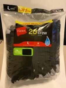 Hanes 20 PAIRS Hanes Crew Socks heel and toe cushioning  Black Size 6-12 Wicking