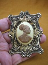 (CA20-40) RARE African American LADY ivory milk brown CAMEO Pin Pendant JEWELRY