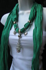 Women Fashion-soft-green-scarf-white-snow-christmas-tree-metal-pendant Charm