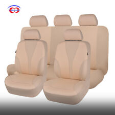 9 PCS Full Set Beige Universal Polyester Car Seat Covers Set Washable Cushioned