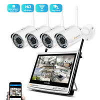 4CH 1080P Wireless Security IP Camera System 12'' Monitor NVR Outdoor WIFI CCTV