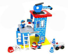 Wooden Police Station Play Set Pretend Toy- Helicopter, Officer