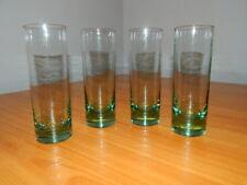 Set 4 Hand Blown Green Tint Glass Drink Glasses Tall Tumblers Highball Barware