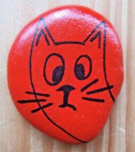 Hand painted rocks, stones, pebbles. Cat fridge magnet.