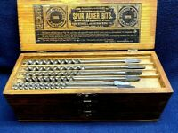 Vintage Russell Jennings Auger Bit Set In 3 Tiered Wooden Box W/13 Auger Bits