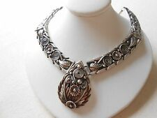 Stunning Sterling Silver Applied Floral Feathers Necklace signed Carlos   808044
