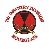 7th Infantry Division Hourglass Army Military Embroidered Polo Shirt