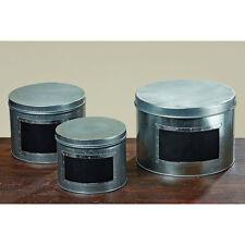 Aufbewahrungsbox Dose aus Metall mit Tafelfläche rund 14cm