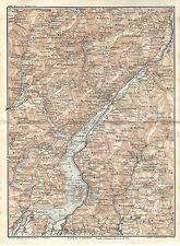 Carta geografica antica LAGO D' ISEO Brescia 1914 Old antique map