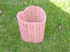 Vintage Wicker Cottage Waste Paper Basket Shabby Chic Beach House Heart Shaped