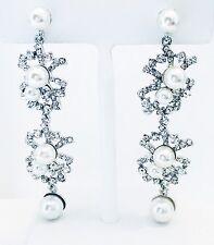 EARRING using Swarovski Crystal Dangle Drop Wedding Bridal Fancy Pearl Silver 01