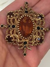 Amber & Black Glass Pin/Brooch Vintage Victorian Revival Ornate Gold Tone
