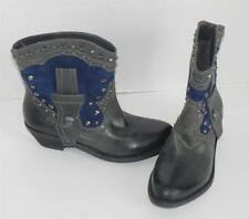 VINCE CAMUTO Madalissa Grey Blue Studded Leather Ankle Boots Booties 7