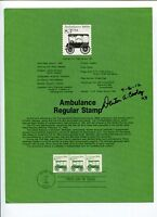 Dr Denton Cooley Heart Surgeon Inventor Signed Autograph FDC Stamp Sheet