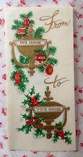 Vintage Gold Embossed Xmas Greeting Card Pair of Door Knockers, Holly & Ornament