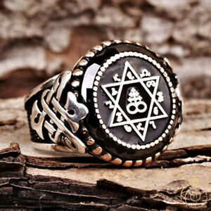 Star of David Leviathan Symbol Enochian Letter Mens Ring Custom Relief Jewelry