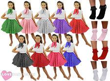 CHILD POLKA DOT SKIRT SCARF & BOBBY SOCKS ROCK N ROLL 1950'S FANCY DRESS COSTUME
