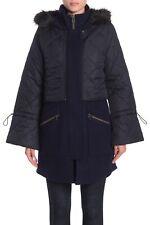 JOIE Hetal Women's Jacket Large Midnight Wool Layered Faux Fur Trim Coat $598