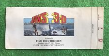 Jaws 3-D 1983 Original Official Horror Promotion Ticket Charity Drive RARE ITEM!
