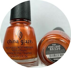 China Glaze Nail Polish Free Love 741 Burnt Golden Red Orange Shimmer Lacquer