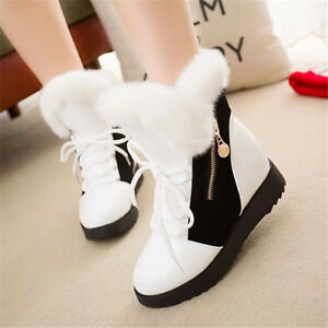 Fashion Womens Warm Winter Casual Mid-Calf Boots Faux Fur Snow Boots Boot