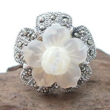Carved Plumeria-Rose Flower Marcasite .925 Silver Ring-8