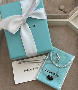 "Tiffany & Co. Elsa Peretti Silver and Black Bean Jade 16"" Necklace"