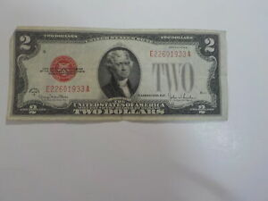 Currency Note 1928 2 Dollar Bill Paper Money Red Seal Note United States VTG NR