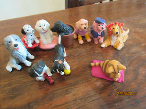 COLLECTIBLE MEG 1994 X10  PURE BREEDS DOGS CATS STANDING PLAYFIGURES CAKE TOPPER