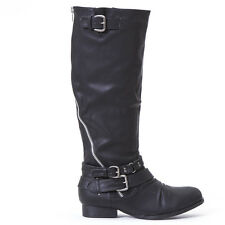 Edge Silver Zip Accent Pewter Buckle Ride Bike Combat Knee Boots Black Size 8.5