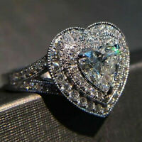Women 925 Silver Ring Heart Shaped White Sapphire Wedding Ring Size 6-10