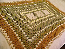 Vintage CROCHET AFGHAN Lap Throw 35x50 Variegated Green Ivory Goldenrod Yellow