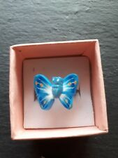 Brand new childs blue butterfly ring! UK size K! Kids childrens gift!