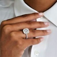 Certified 2.55Ct Cushion Cut White Diamond Engagement Ring Solid 14K White Gold