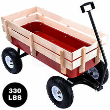 Outdoor Wood Wagon Garden Cart Pulling Beach Sport Cart Trolley Children Railing