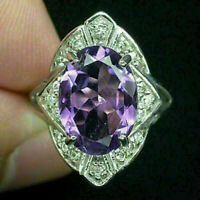 Ring Purple Amethyst Genuine Natural Gems Solid Sterling Silver Size P 1/2  US 8