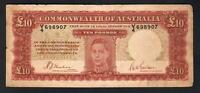 Australia R-58. (1940) 10 Pounds - Sheehan/McFarlane.. George VI Portrait..  VG