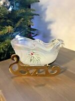 Fenton Glass Iridescent Sleigh Hand Painted Woodland Frost 95th Anniversary
