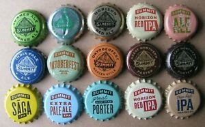 15 DIF SUMMIT BREWING CO ST. PAUL MN 5 UNUSED CURRENT/OBSOLETE BEER BOTTLE CAPS