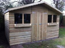 10FT X 8FT GARDEN SHED/SUMMER HOUSE WITH +1FT OVERHANG 22mm TANALISED LOGLAP