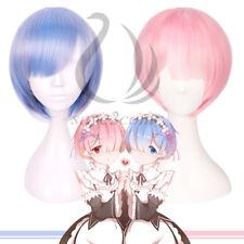 Wig Cosplay Ram Rem Pink Blue Zero Linght Re Hajimeru kara Twins