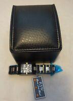 RAMA SWISS WATCH RSW LADIES black /silver STAINLESS STEEL WATCH new $770