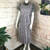 Vintage 80s Laura Ashley S/M Floral Rose Roses Jumper Midi Tent Dress purple vtg