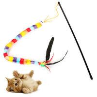 Pet Kitten Cat Teaser Rainbow Feather Chaser Stick Rod Interactive Sound Toy Hot