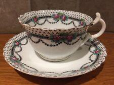 Pretty Art Nouveau Victorian Cup & Saucer with Gilt & Black Design, Pink Flowers