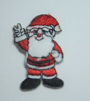 SANTA CLAUS 4cm FR.CHRISTMAS  Embroidered Sew Iron On Cloth Patch Badge APPLIQUE