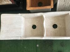 Lavello cucina a incasso 2 vasche + gocciolatoio in pietra naturale cm 115x44